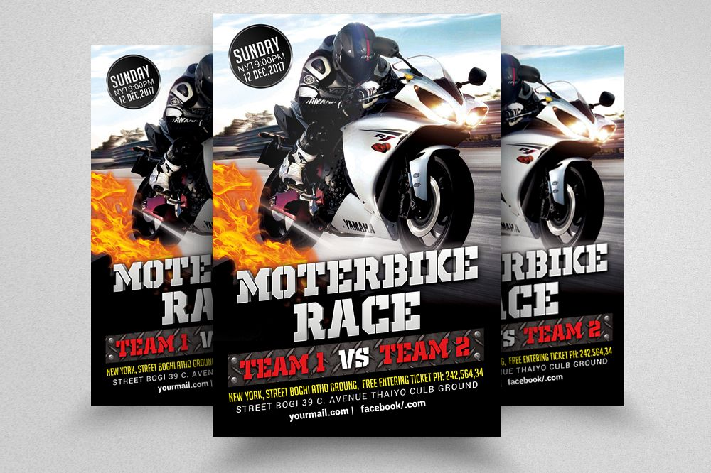 Bike Racing Flyer Template  example image 1