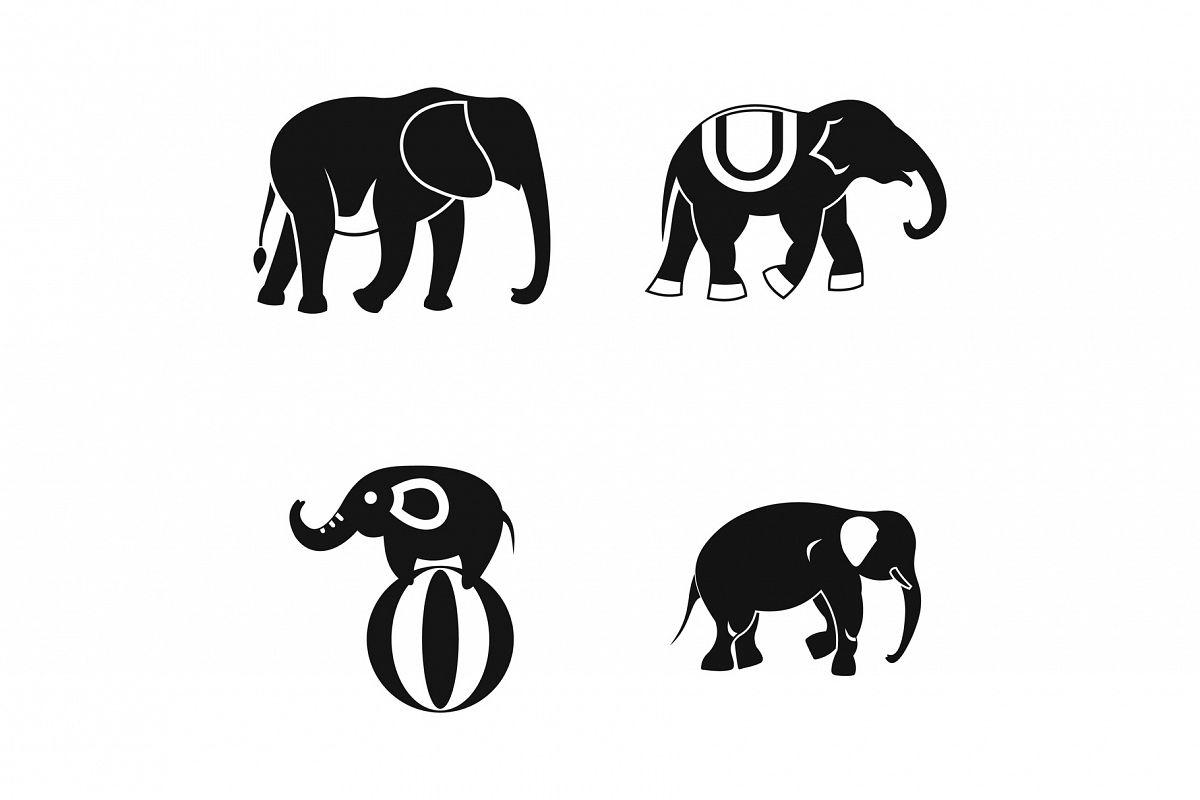 Elephant icon set, simple style example image 1