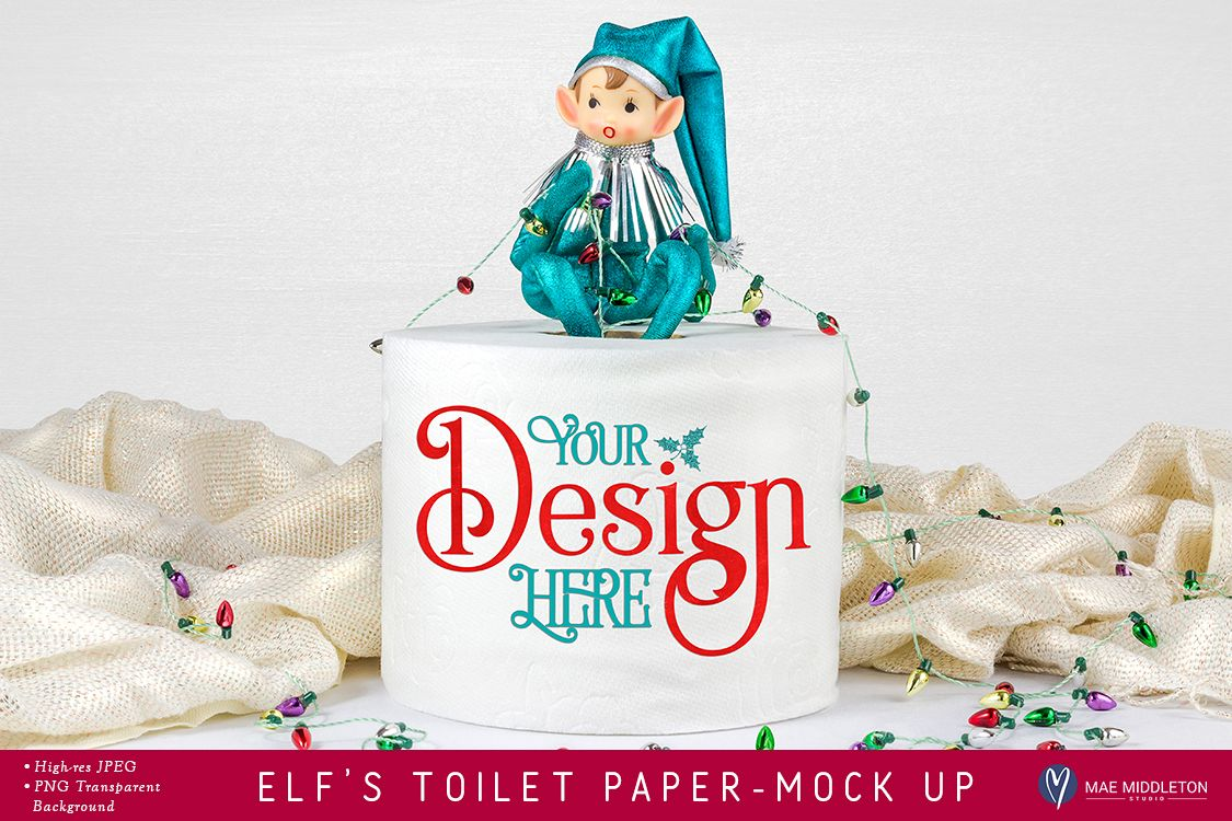 Elf's Toilet Paper Roll Mock up for Christmas example image 1