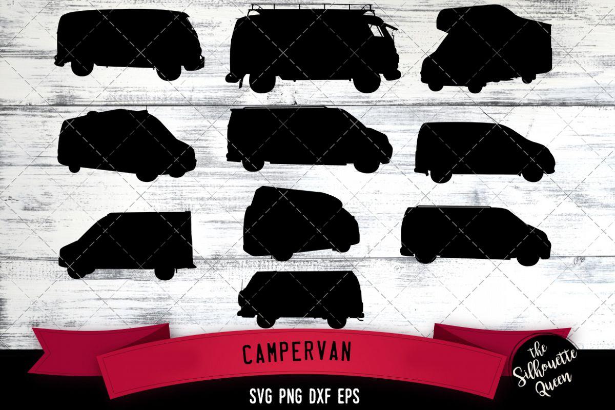 Campervan svg file, svg cut file, silhouette studio, example image 1