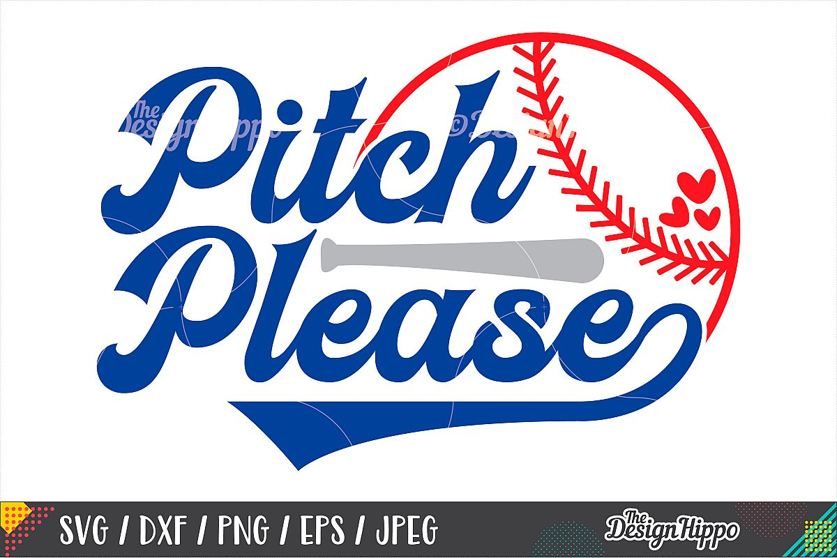 Pitch Please SVG, Funny Baseball SVG, DXF PNG Cricut Files example image 1
