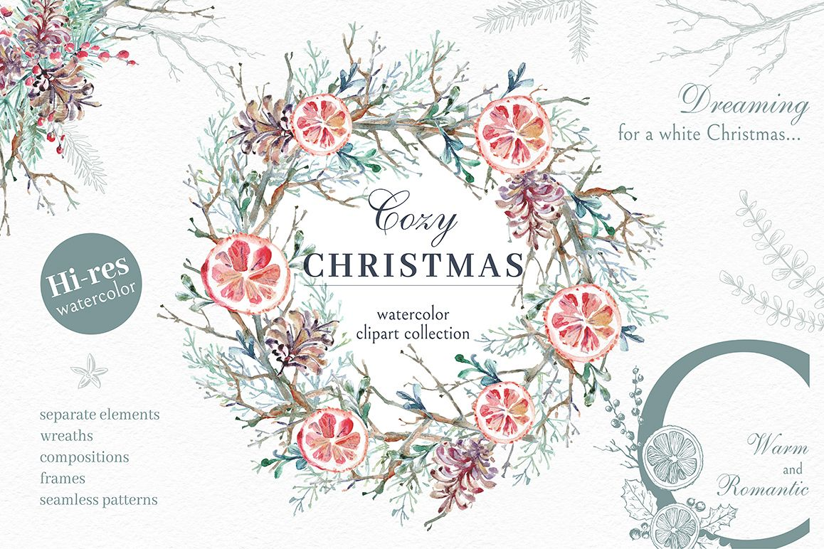 Cozy CHRISTMAS. Watercolor graphic kit. example image 1
