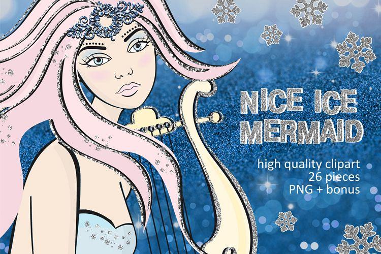 ICE MERMAID Glitter Christmas Illustration Set example image 1