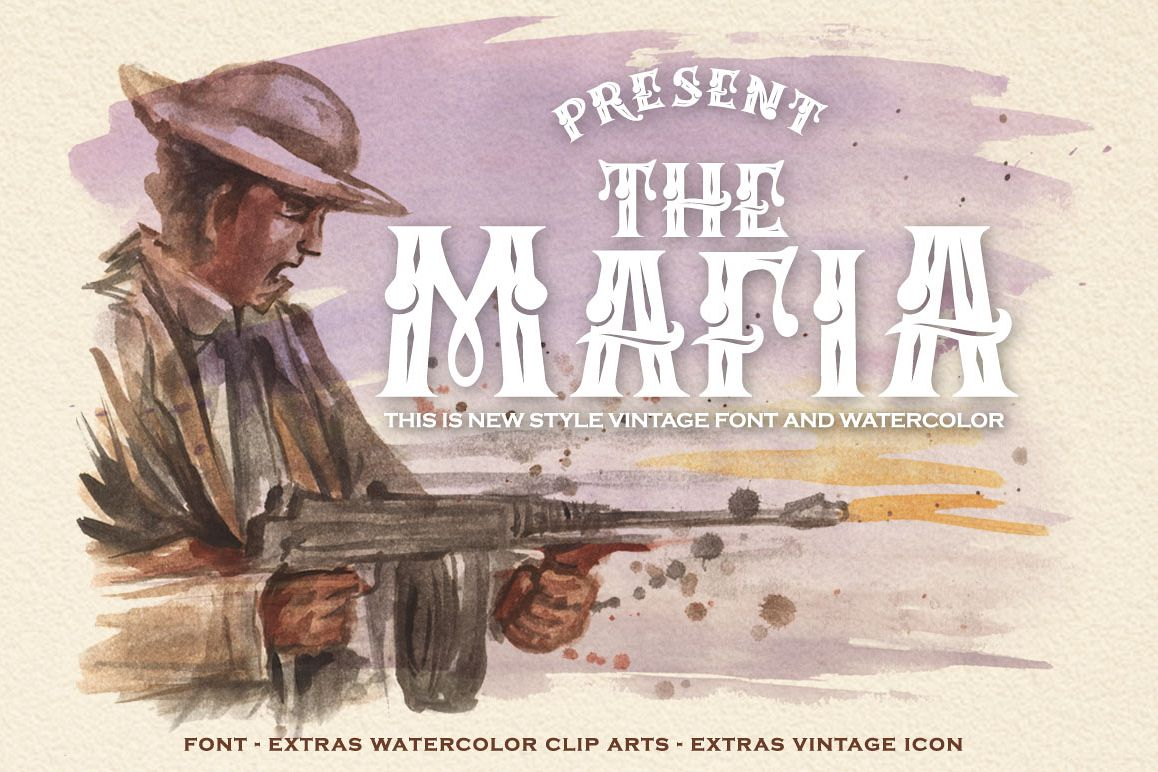 Mafia Font and Watercolor example image 1
