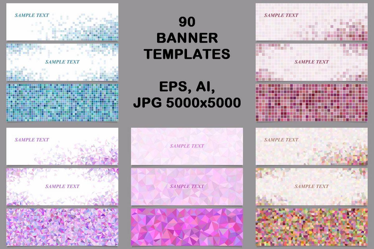 90 mosaic banner template designs (AI, EPS, JPG 5000x5000)