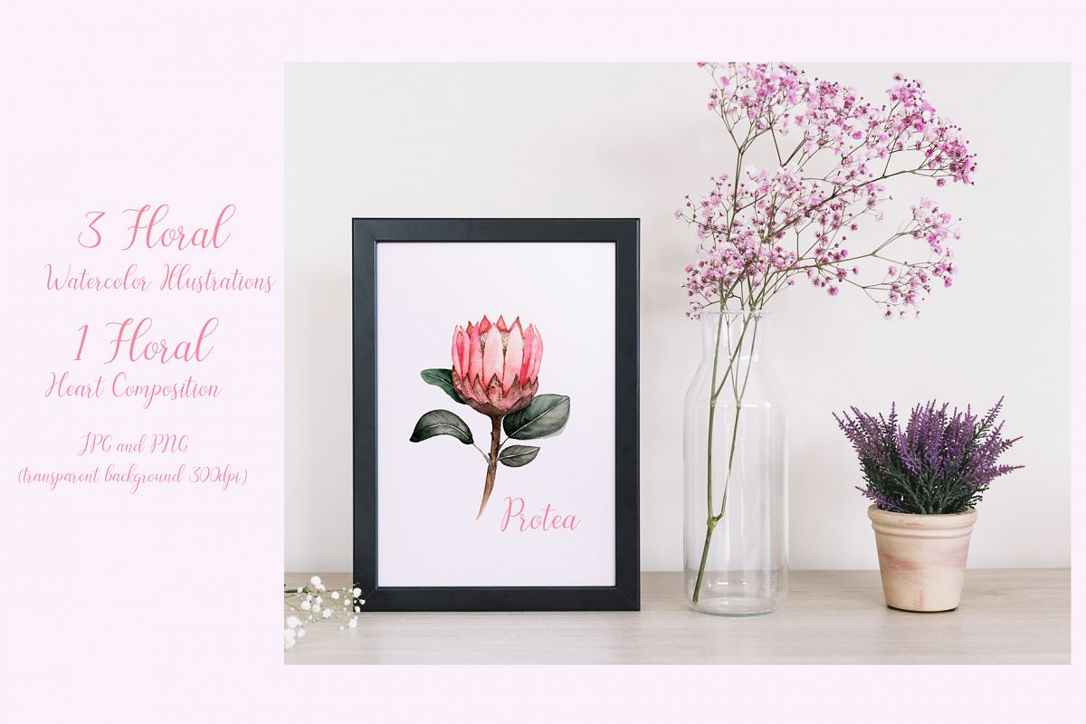 Watercolor floral illustrations example image 1