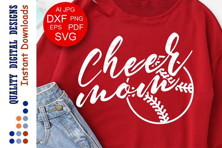 Baseball Cheer mom svg file saying Sports shirt example image 1