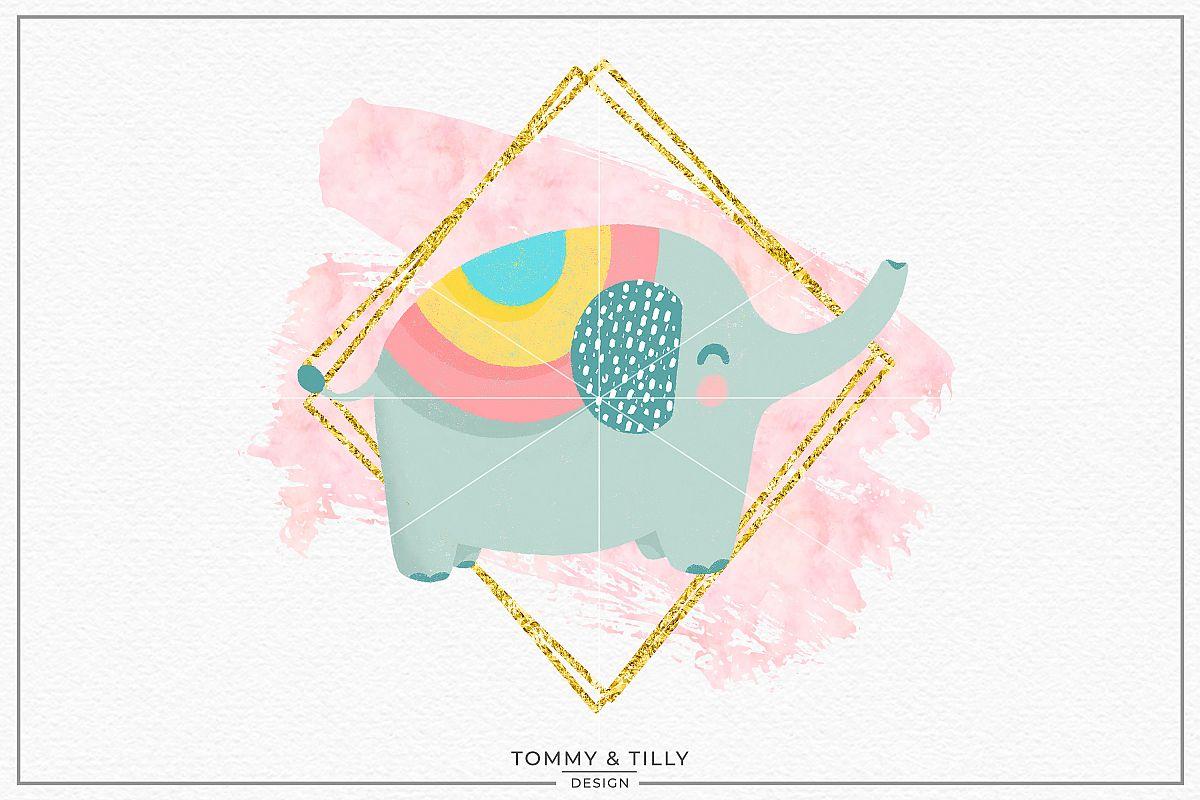Blush Gold Frame Elephant - Sublimation PNG Clipart example image 1