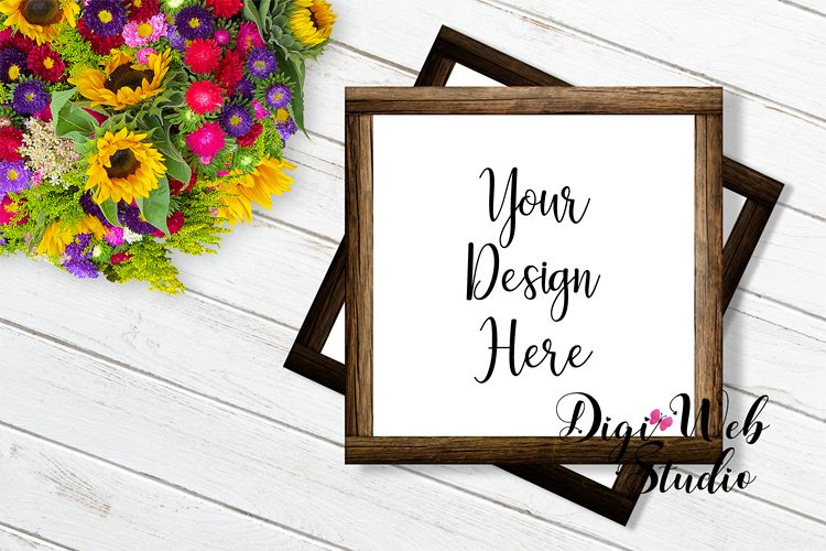 Flat Lay Wood Frames Mockup - Square Wood Signs w/ Flowers example image 1