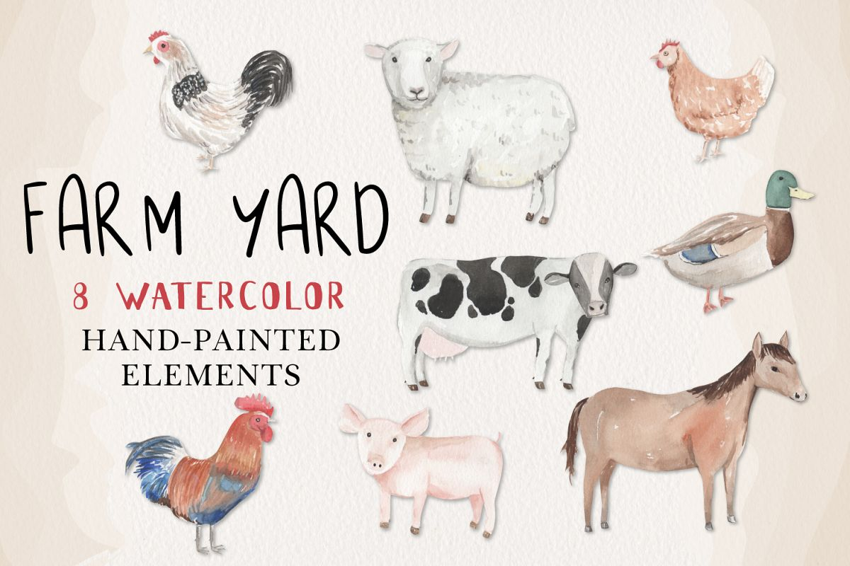Farm Yard Animals Set 8 Hand Painted Watercolor Cow Pig Hen example image 1