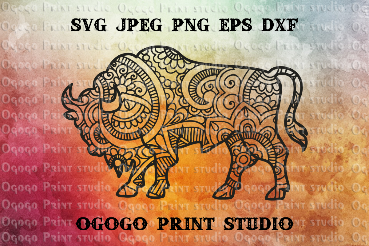 Buffalo SVG, Zentangle SVG, Animal svg, Bison Dxf, Mandala example image 1