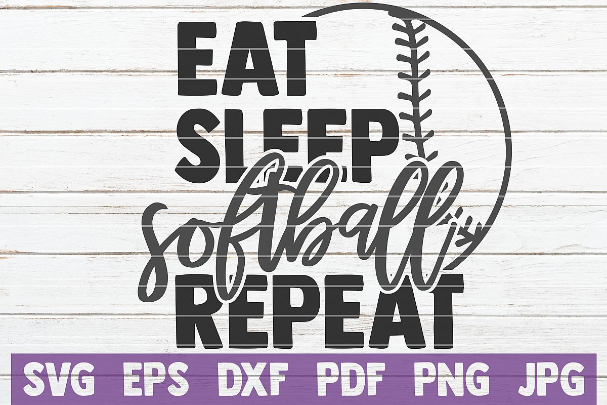 Eat Sleep Softball Repeat SVG Cut File| commercial use example image 1