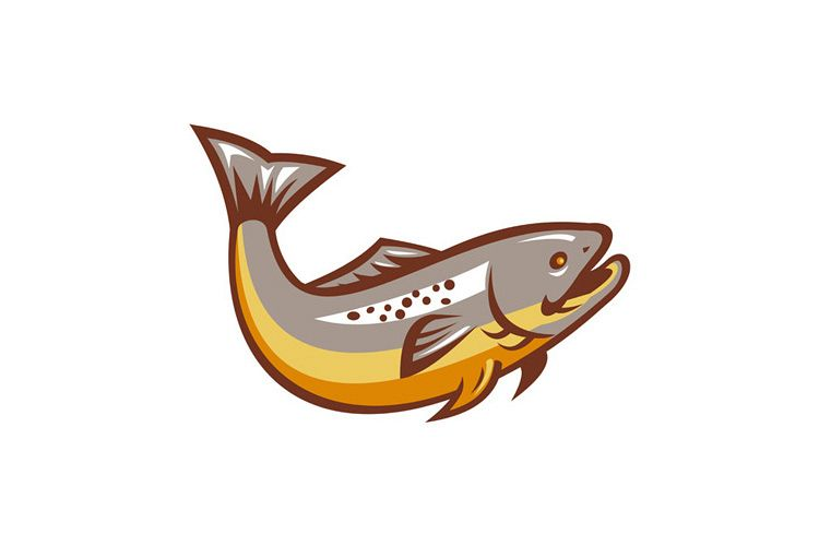 Trout Fish Jumping Retro example image 1
