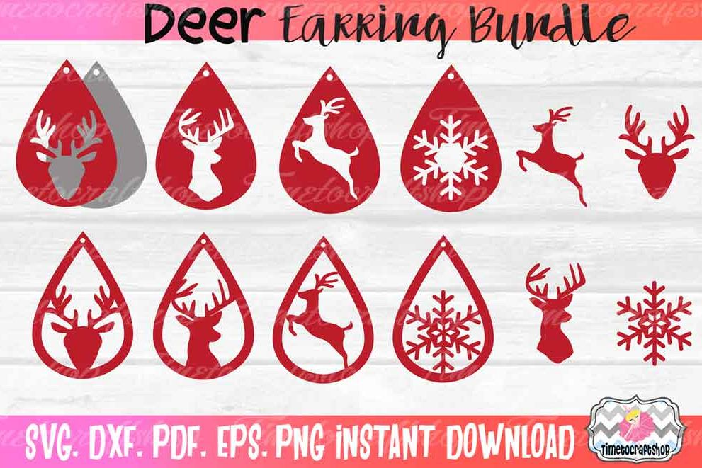 Deer Earring Template Bundle, Faux leather Earring example image 1