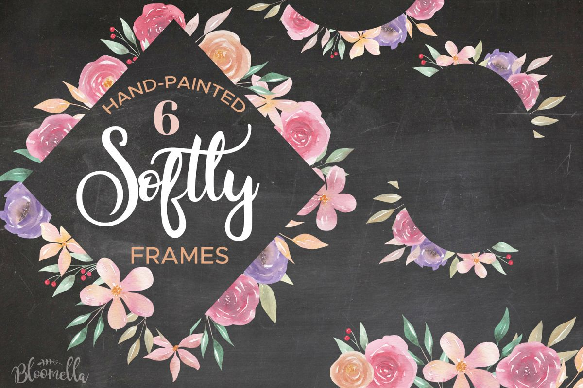 Softly Pink Watercolor Frames Borders Flowers Purple Set example image 1