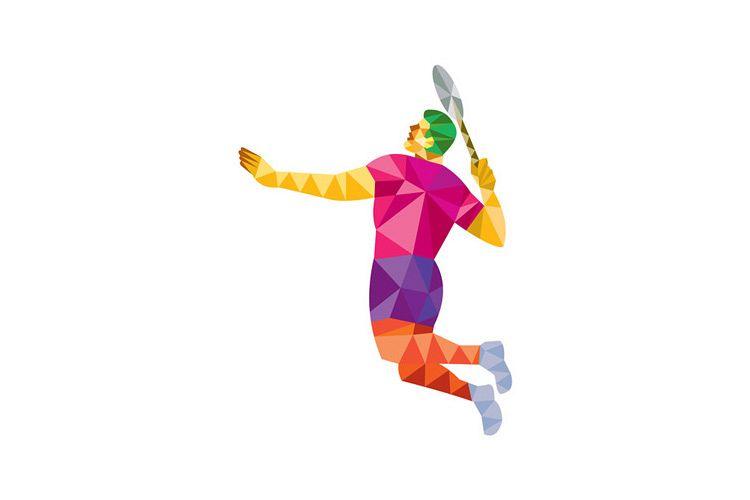 Badminton Player Jump Smash Low Polygon example image 1