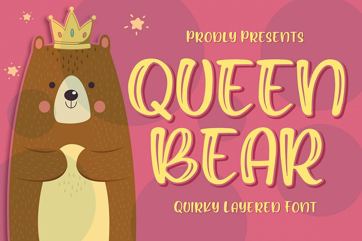 Queen Bear - Quirky Layered Font example image 1