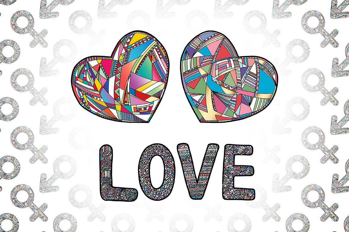 Hearts and gender symbols. LOVE vector collection. example image 1