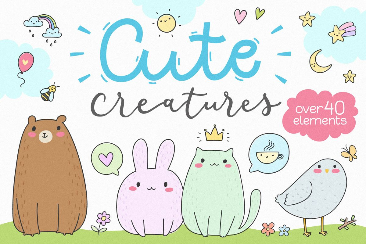 Cute Creatures Vector Set example image 1