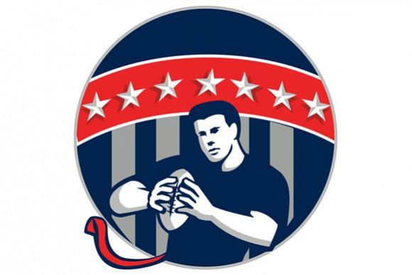 Flag Football QB Player Running Circle Retro example image 1