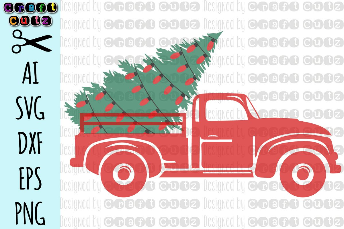 Christmas Tree Farm Truck with lights, Old Truck SVG ...