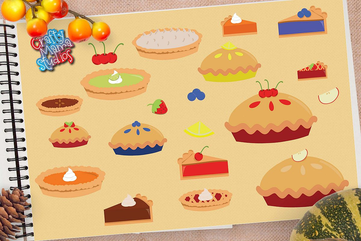 Pie Bundle SVG, Thanksgiving Pie Sublimation, PNG Fall EPS example image 1