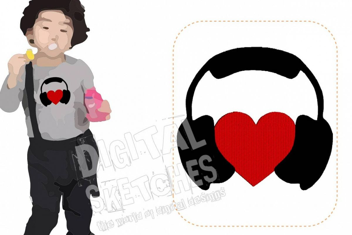 Headphones Love Music Machine Embroidery Design 3 Sizes example image 1
