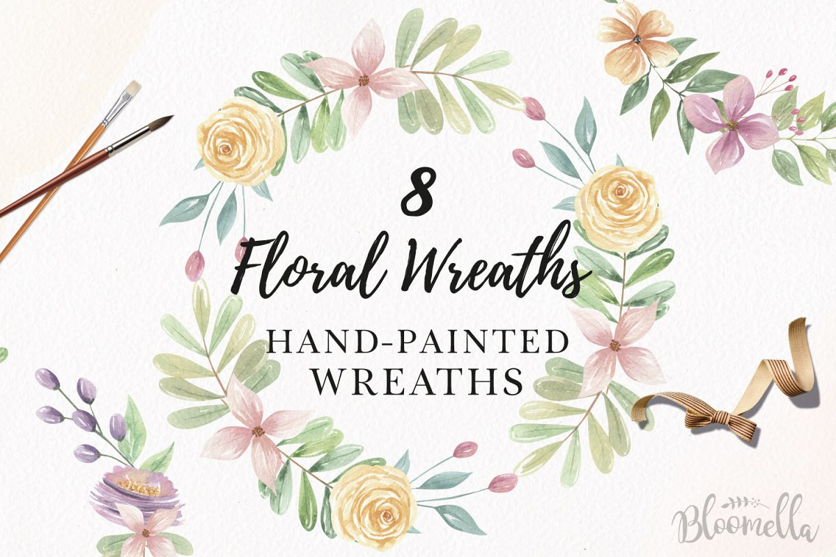 Watercolor Floral Wreaths 8 Garlands Pretty Flowers Set Pink