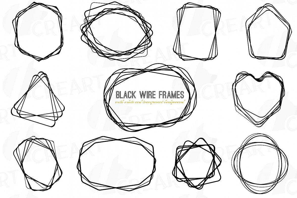 black wire frames  lineal frames clip art  wedding invite