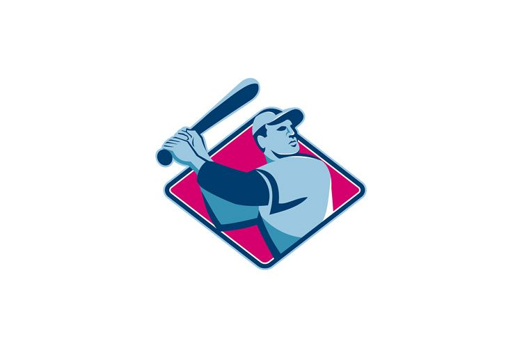 baseball player with bat batting retro style example image 1