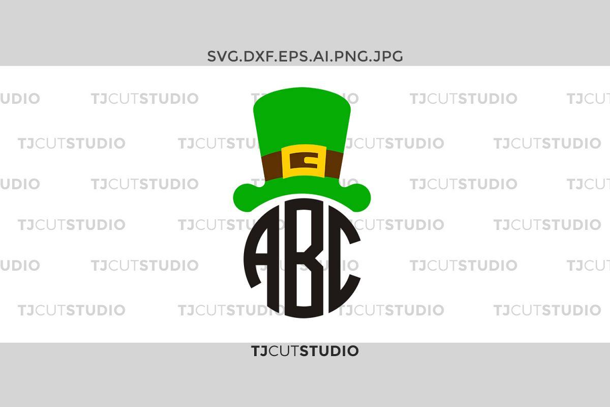 Leprechaun svg, St Patrick Monogram svg, Leprechaun Hat svg, Shamrock svg,Files for Silhouette Cameo or Cricut, Commercial & Personal Use. example image 1