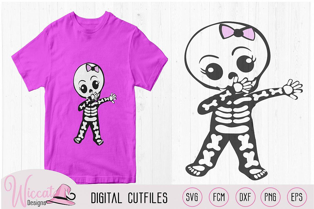 Cute dabbing skeleton, boy skeleton, girl skeleton, example image 1