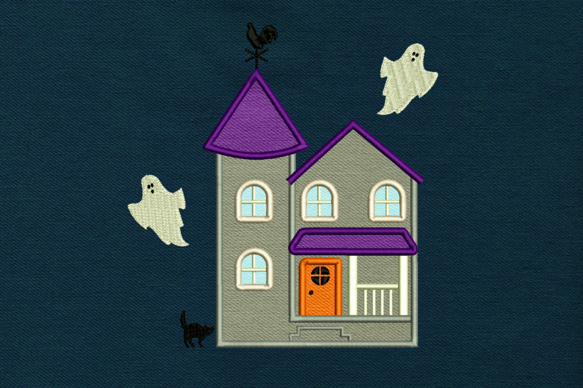 Halloween Haunted House Applique Embroidery Design File example image 1