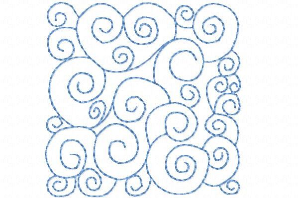 Quilt Block Stippling Machine Embroidery Design In 3 Sizes