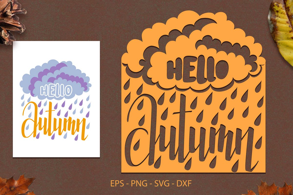 Hello Autumn svg png dxf eps - Autumn Lettering Paper Cut example image 1