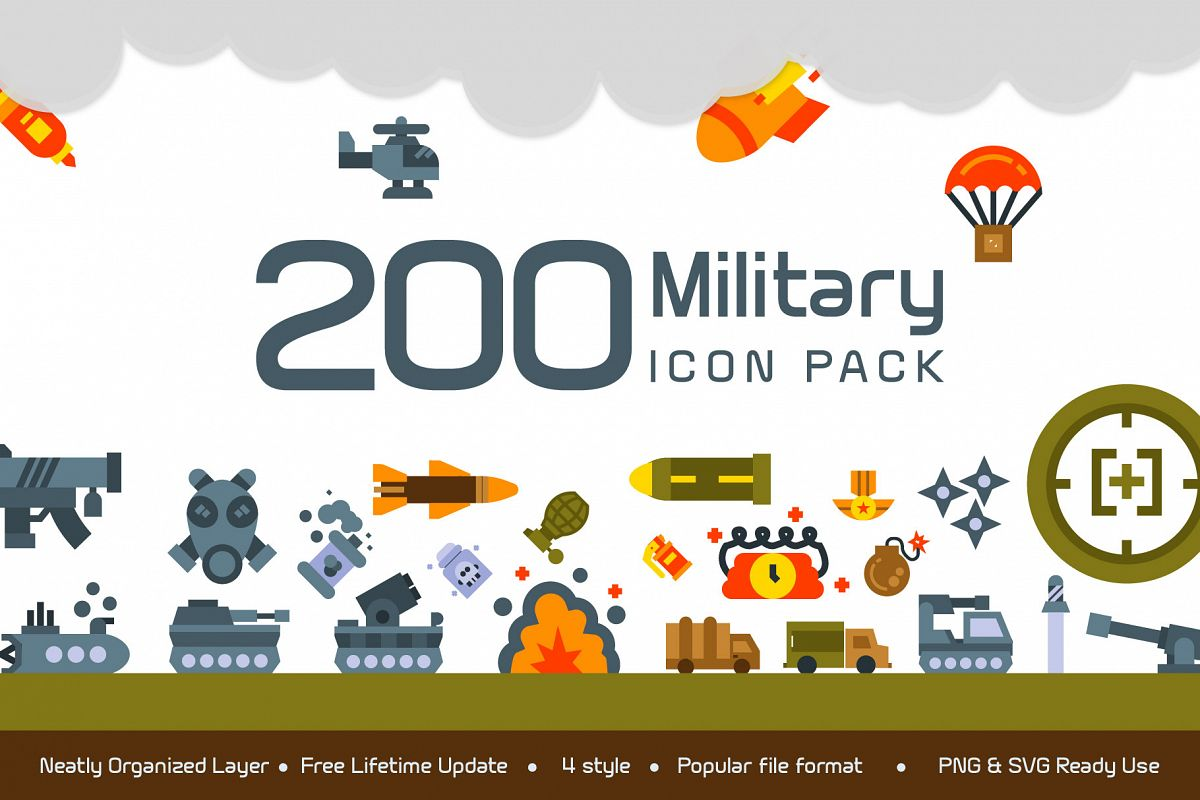 200 Military icon pack example image 1