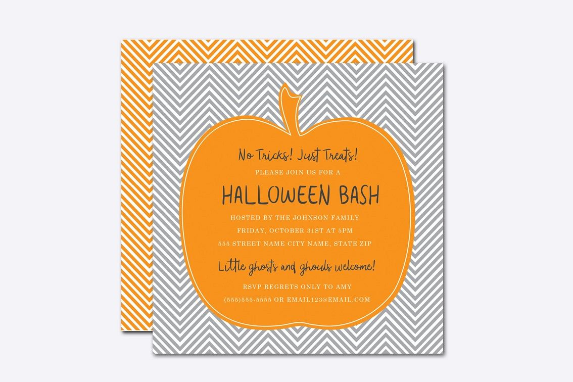 Chevron Pumpkin Halloween Invite Template Example Image 1