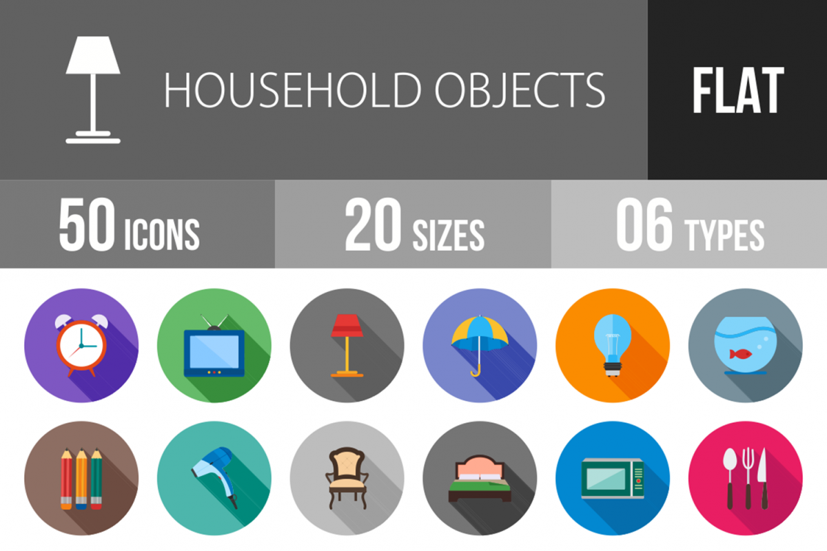 50 Household Objects Flat Long Shadow Icons example image 1