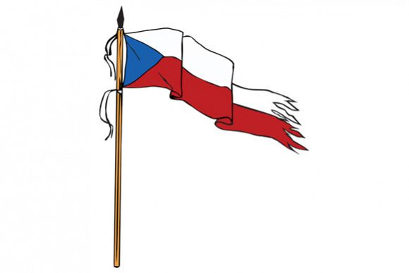 Flag Czech Republic Torn Ripped Retro example image 1