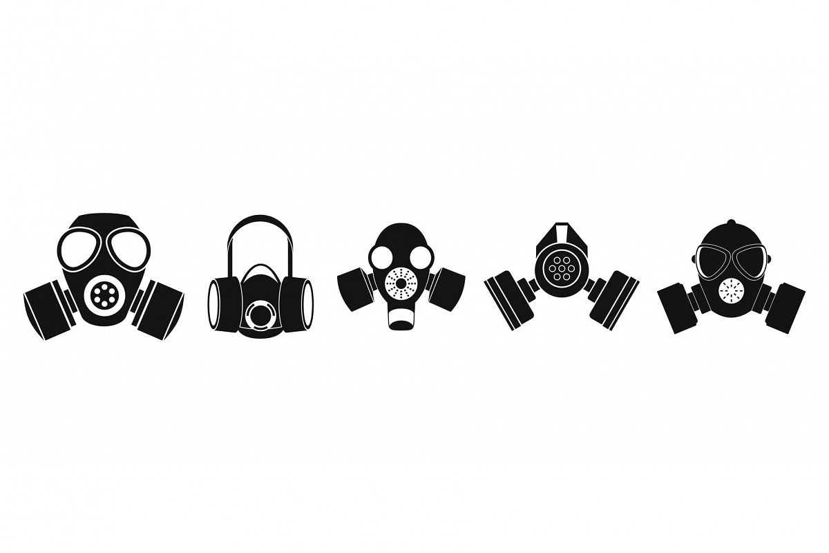 Gas mask icon set, simple style example image 1