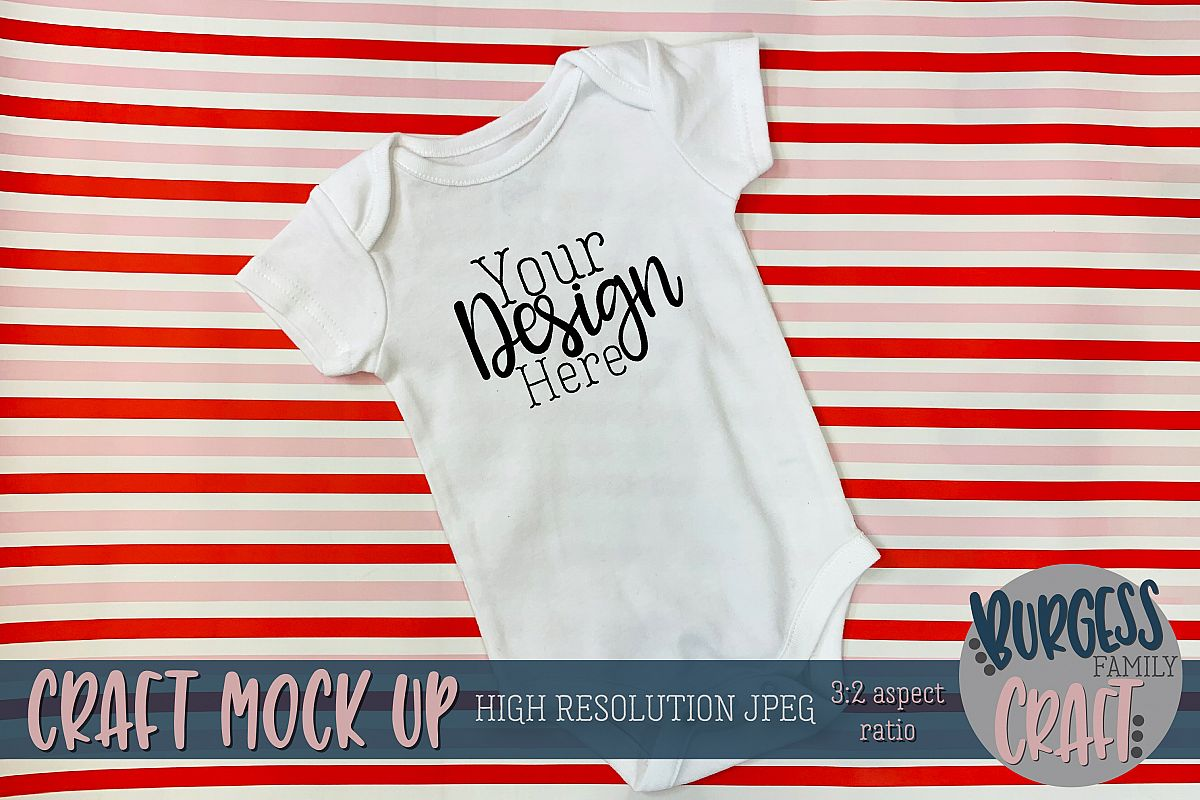 Valentine baby bodysuit on stripes Craft mock up example image 1