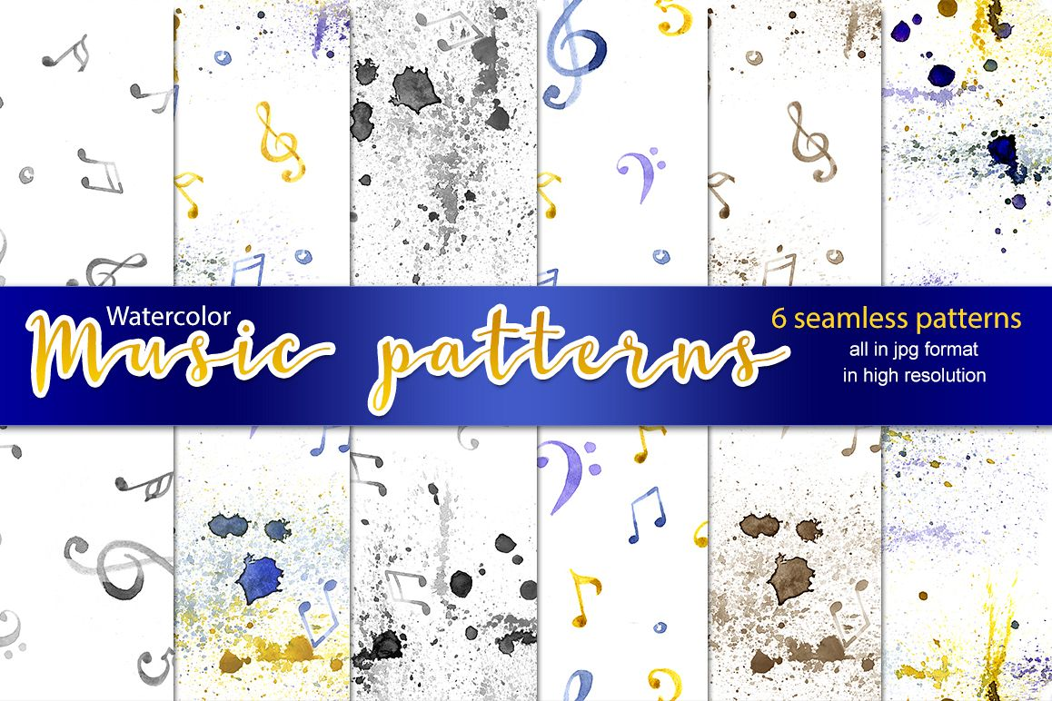 6 watercolor music patterns example image 1