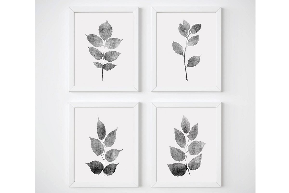 Plant Wall Art, Gray Wall Art, Leaves Wall Art, Grey Leaf example image 1