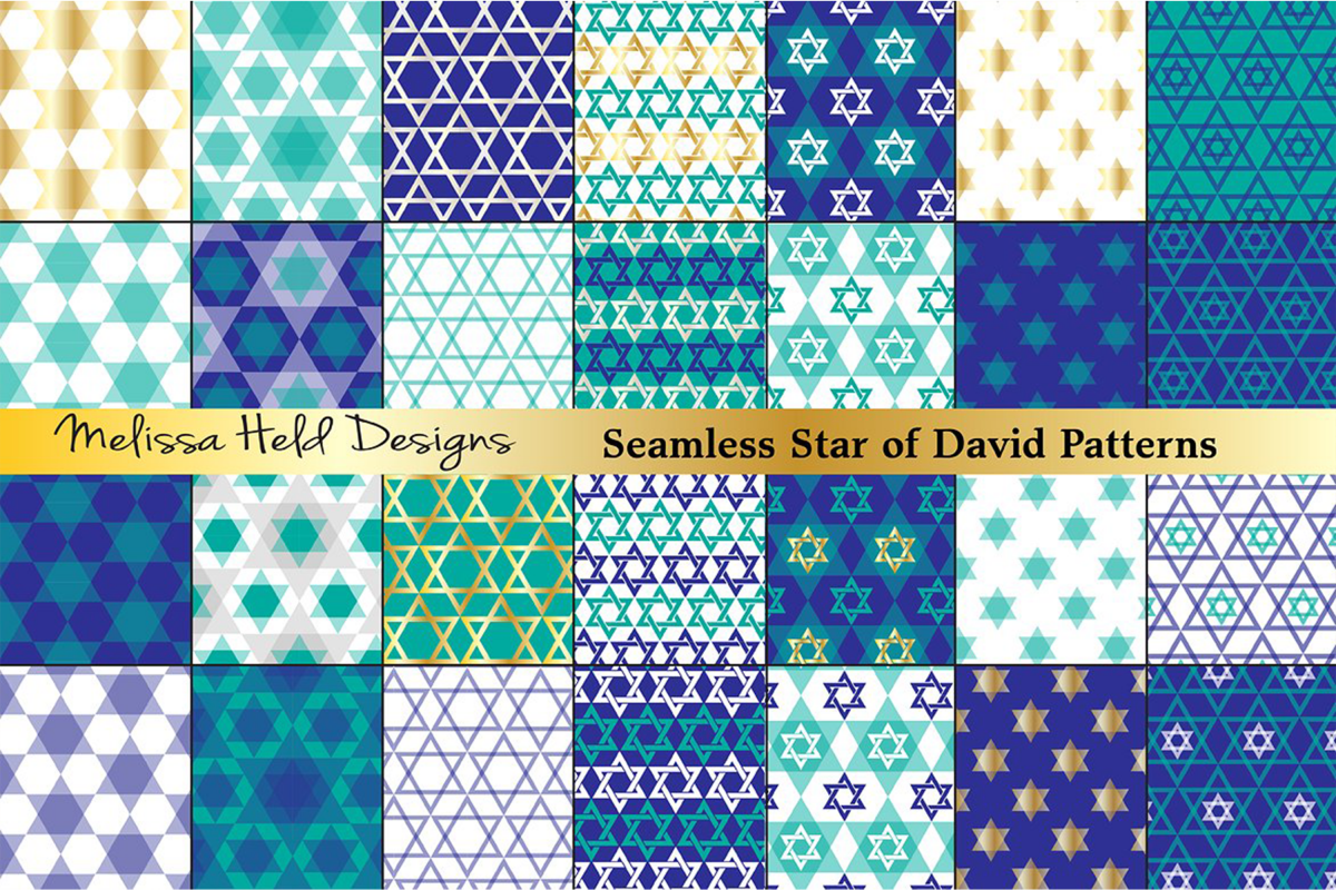 Star of David Seamless Patterns example image 1