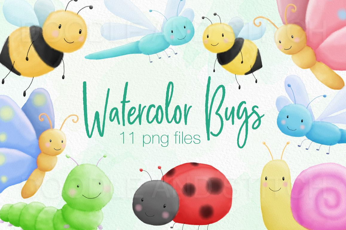 Cute Bugs Watercolor Illustrations example image 1
