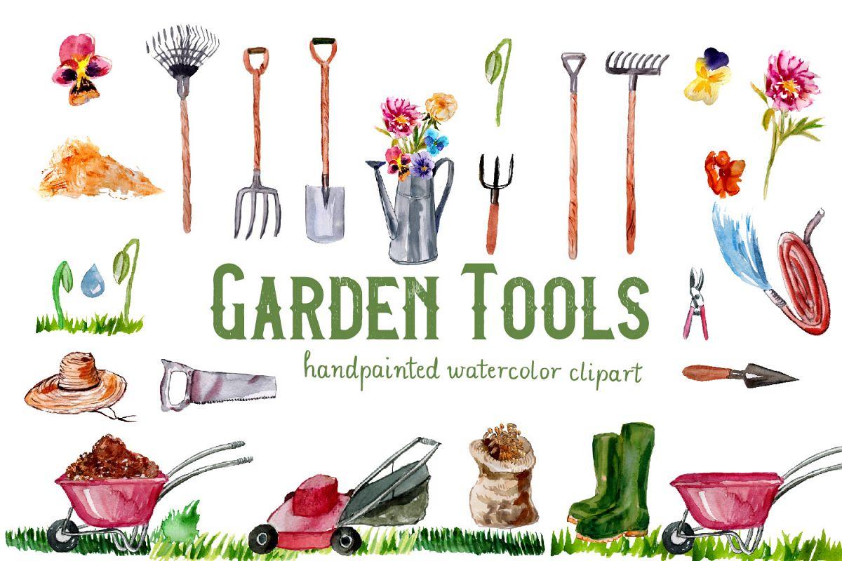 Garden Tools Watercolor Hand Painted Clipart, Spring Garden example image 1