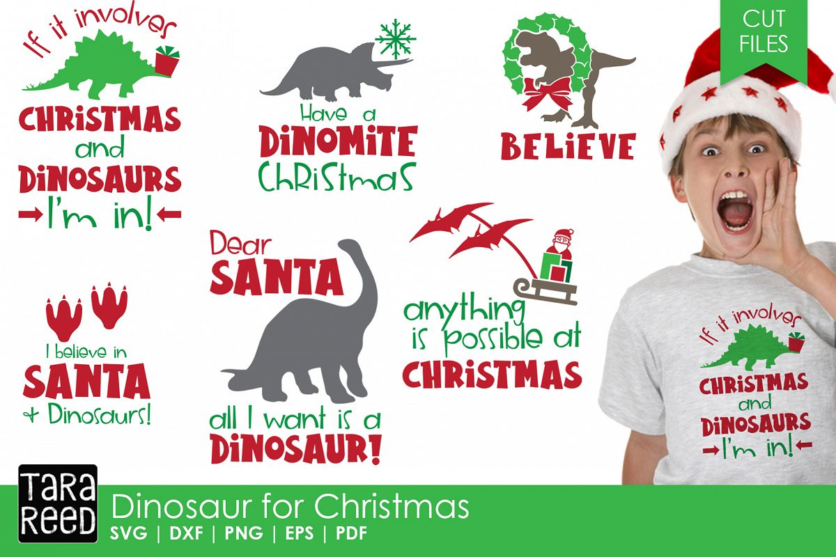 Dinosaur Christmas.Dinosaur For Christmas Christmas Svg Cut Files For Craft