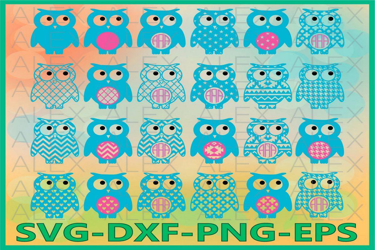 Owl Svg Files, Owls Monogram, Monogram Owl Cut Out example image 1