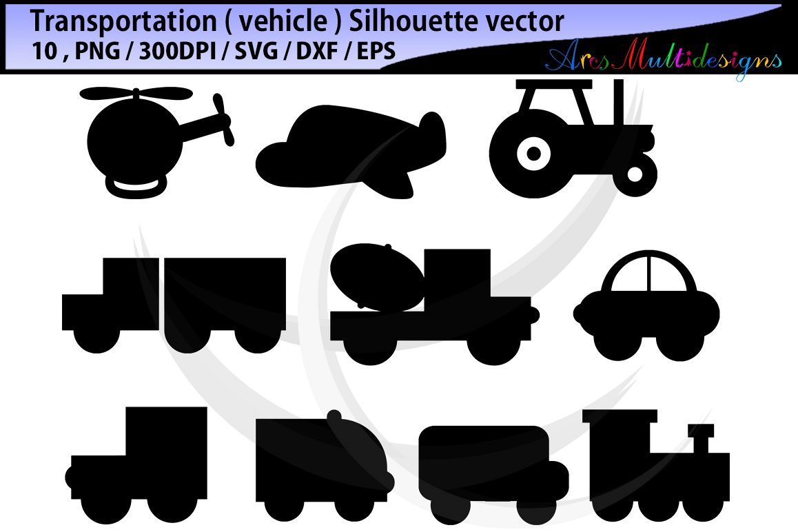 vehicle silhouette svg / transportation clip art SVG / transportation vector/ hand drawn doodle / Eps / Png / transporation silhouette example image 1