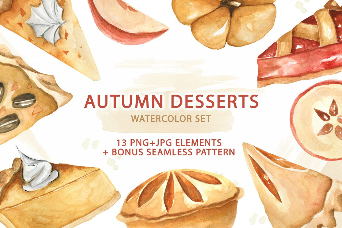 Watercolor Traditional Autumn Desserts example image 1